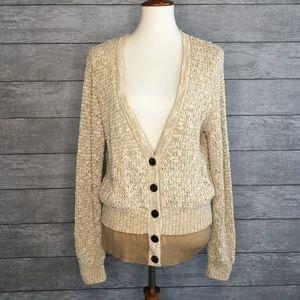 St. John Deep V Cardigan Sweater Fully Lined Sz L